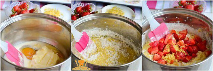 как сделать тесто для маффинов с клубникой