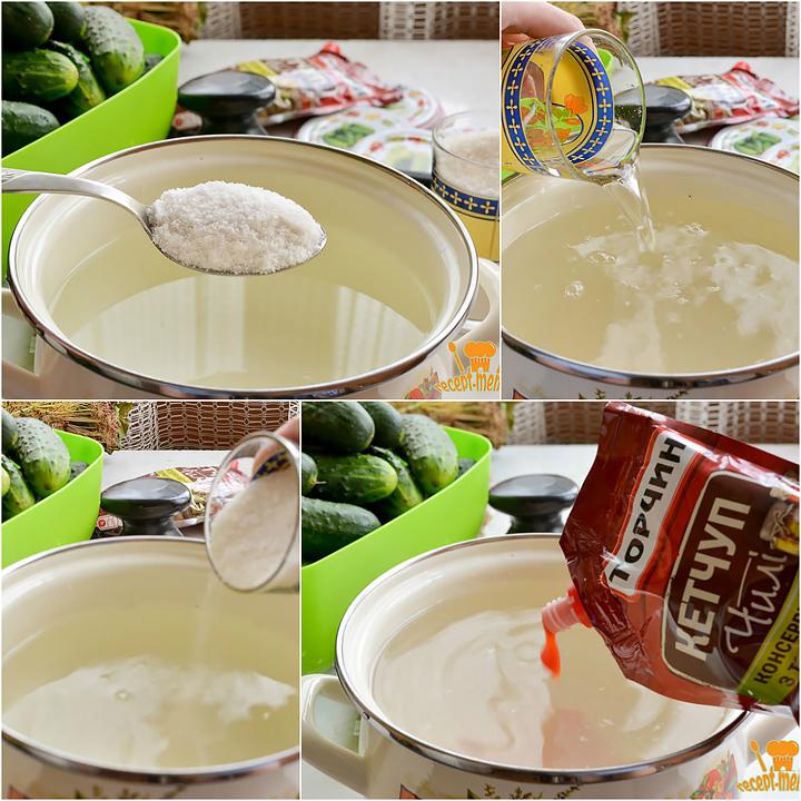 Как приготовить маринад с кетчупом для огурцов