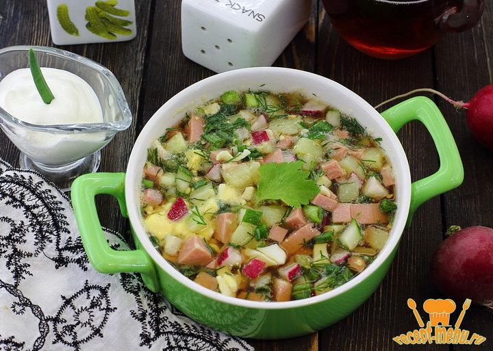 Окрошка рецепты с фото пошагово: на квасе, томатная 9