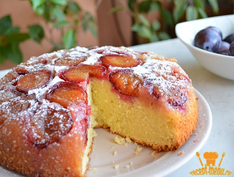 пирог со сливами перевертыш