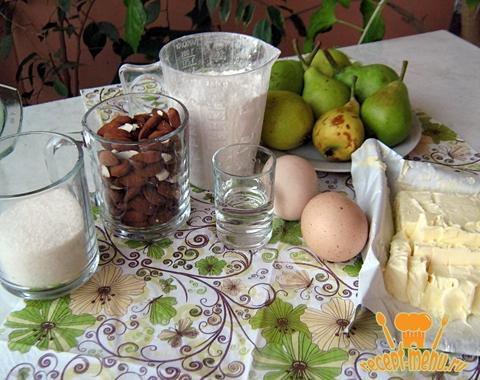 продукты для приготовления пирога с грушами и миндалем