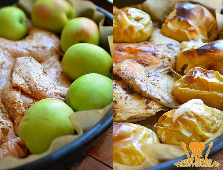яблоками обкладываем птицу