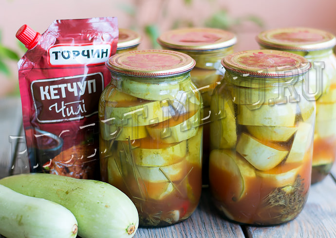Кабачки с кетчупом Чили Торчин на зиму