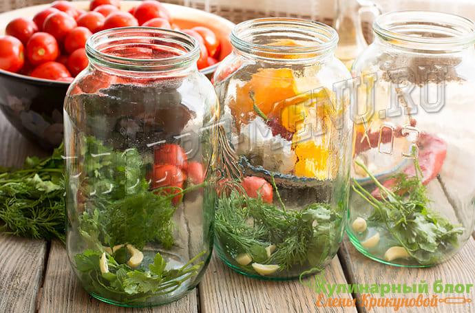 Заполнить банки овощами