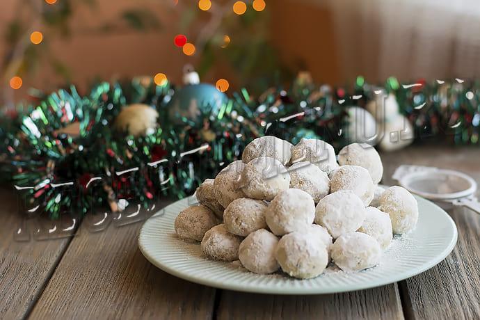 Печенье Снежок из песочного теста в сахарной пудре как в магазине