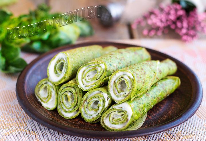Зеленые блинчики со шпинатом и сыром